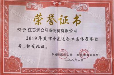 2019年度综合先进企业集体证书