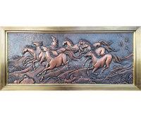 銅浮雕-八駿圖