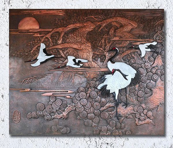 仙鶴彩繪浮雕