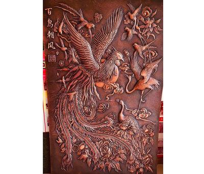 銅浮雕-百鳥朝鳳