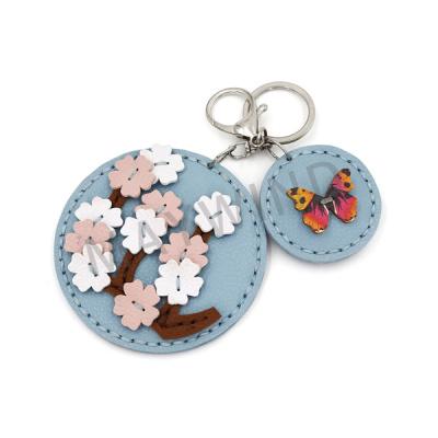 樱花镜子手工缝制钥匙扣