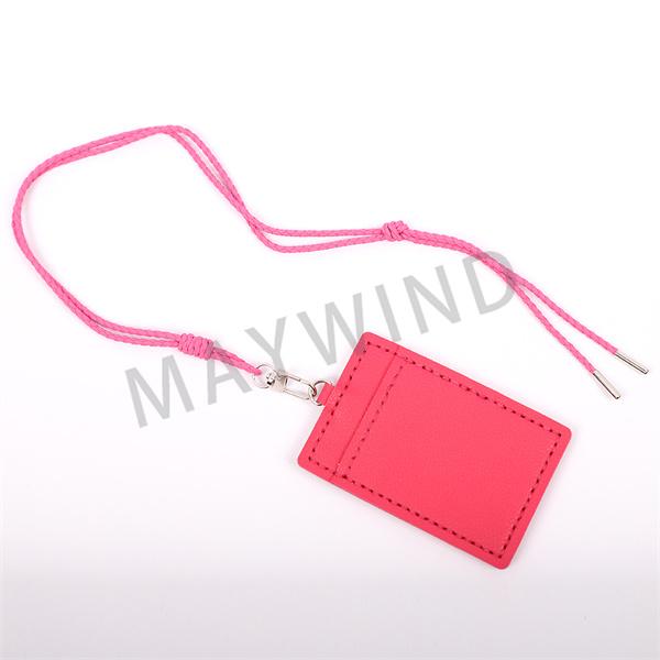 手工缝制长绳卡包-玫红色