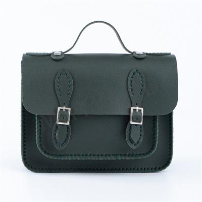 手工缝制斜挎包-墨绿色