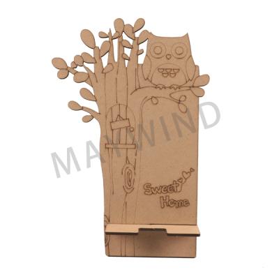 木质猫头鹰手机支架