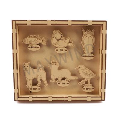 手工拼图动物标本盒