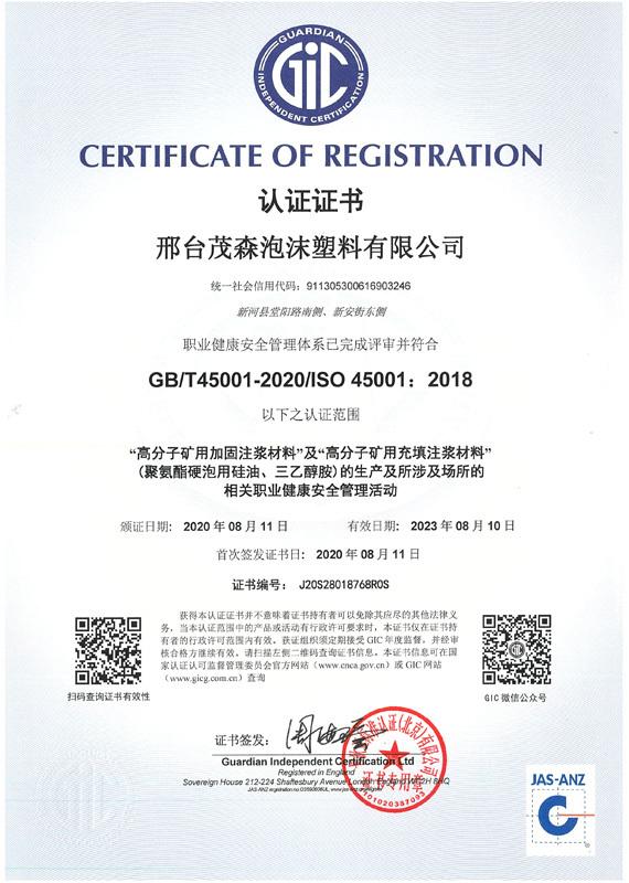 45001體系認證證書