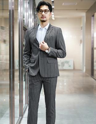 修身商务通勤衬衣职业装灰底白条西装二件套81-8815