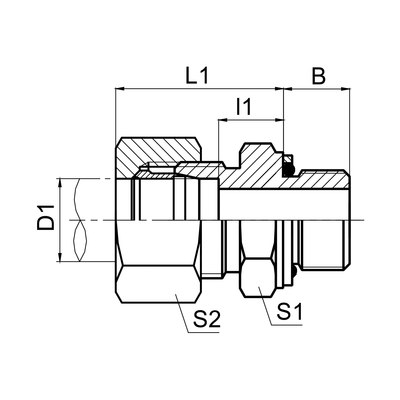 英管螺纹O形圈密封柱端 1CG/1DG
