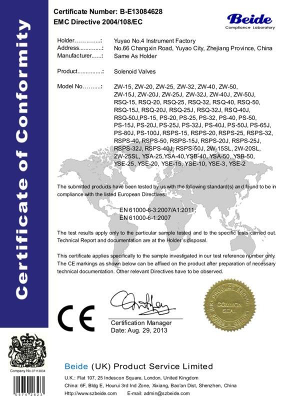 CE證書電磁閥