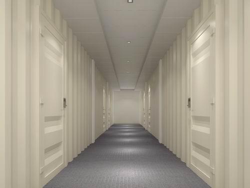 集裝箱度假酒店簡約環保的走廊