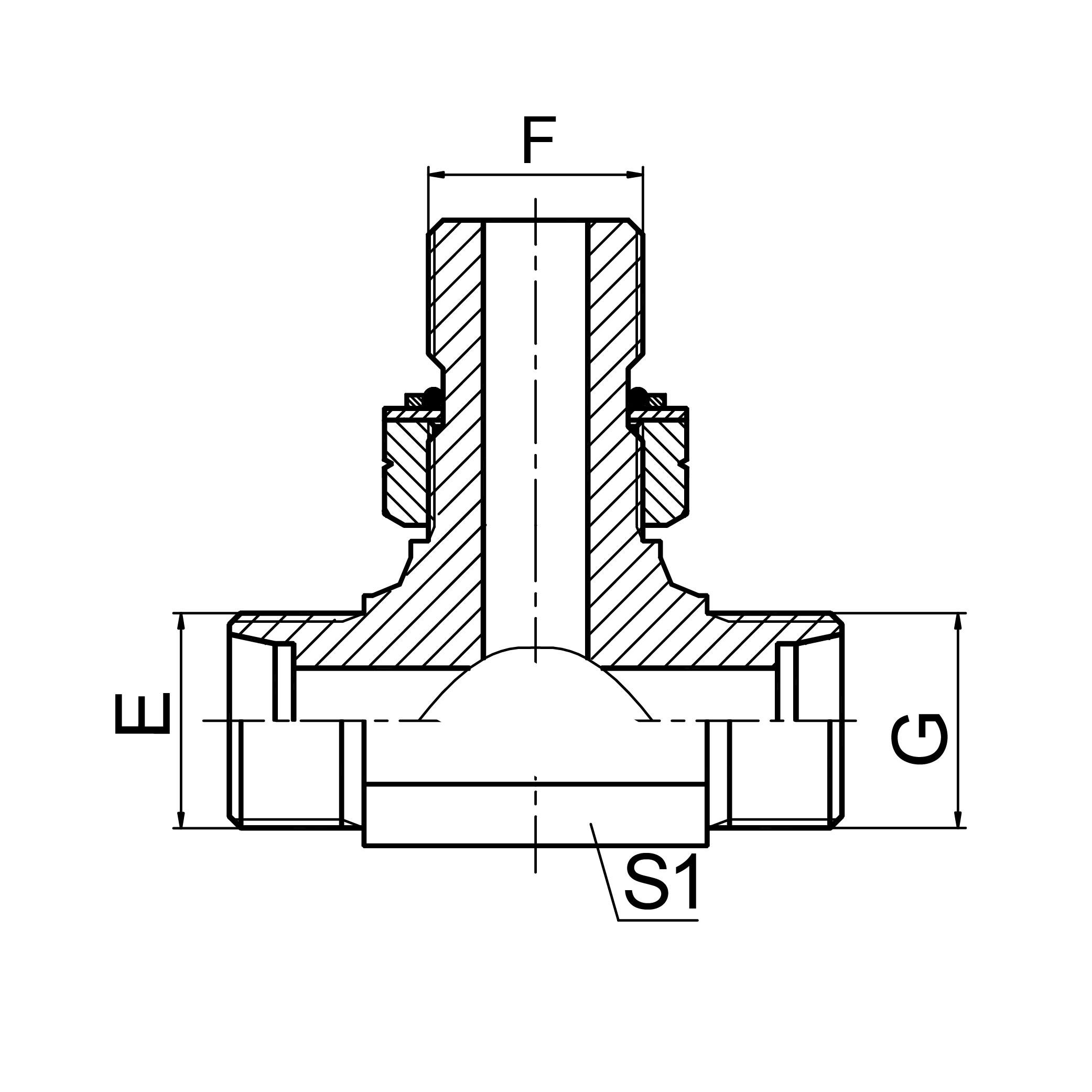 公制外螺纹24°锥 /公制外螺纹可调向柱端ISO 6149 分支三通 ACHC-OG/ADHD-OG