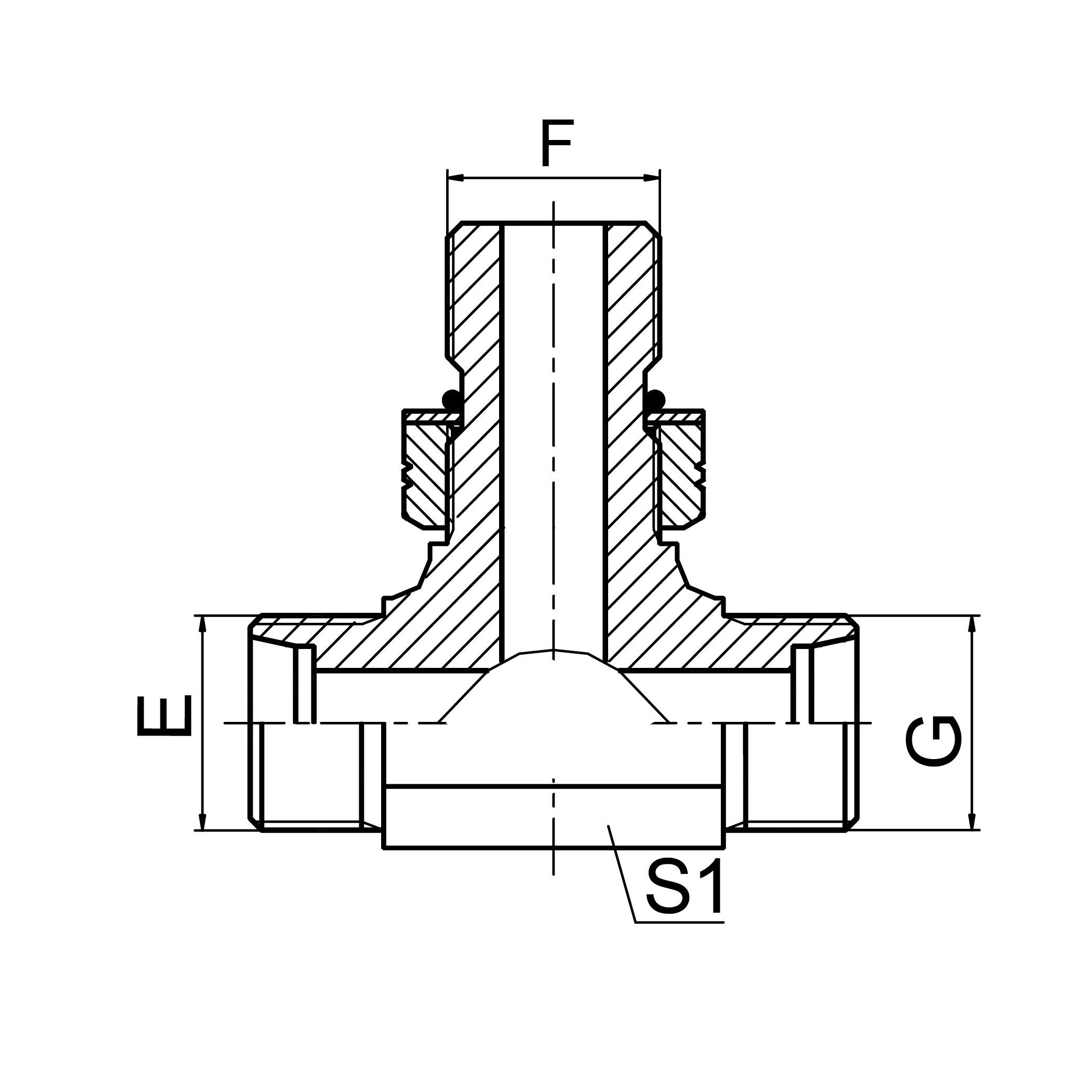 三通中间端美制螺纹可调向O形圈密封 ACOC-OG/ADOD-OG