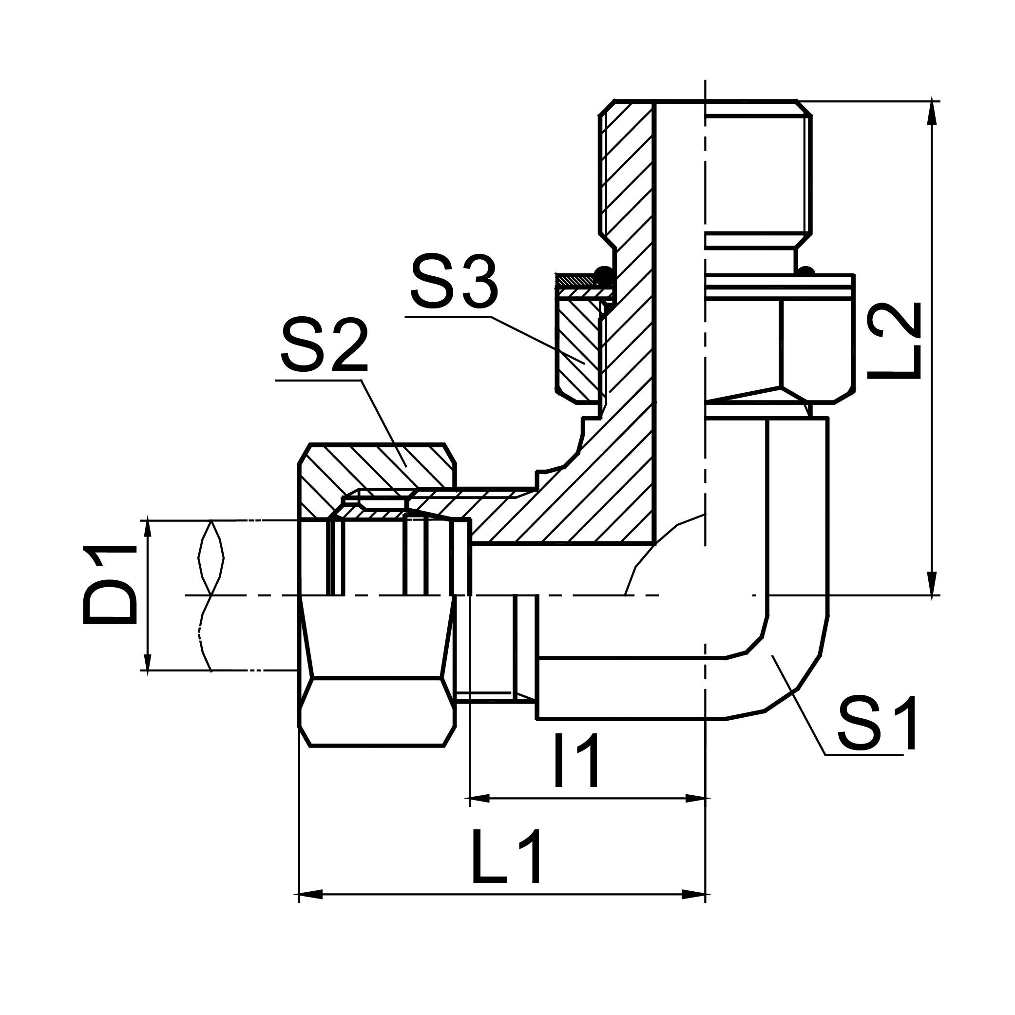 90°弯公制外螺纹可调向柱端 ISO 6149 1CH9-OG/1DH9-OG