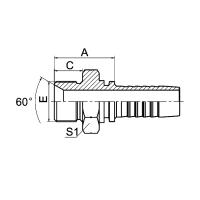 英管外螺纹60°内锥面或六角端面用组合垫密封的双用接头 12611A