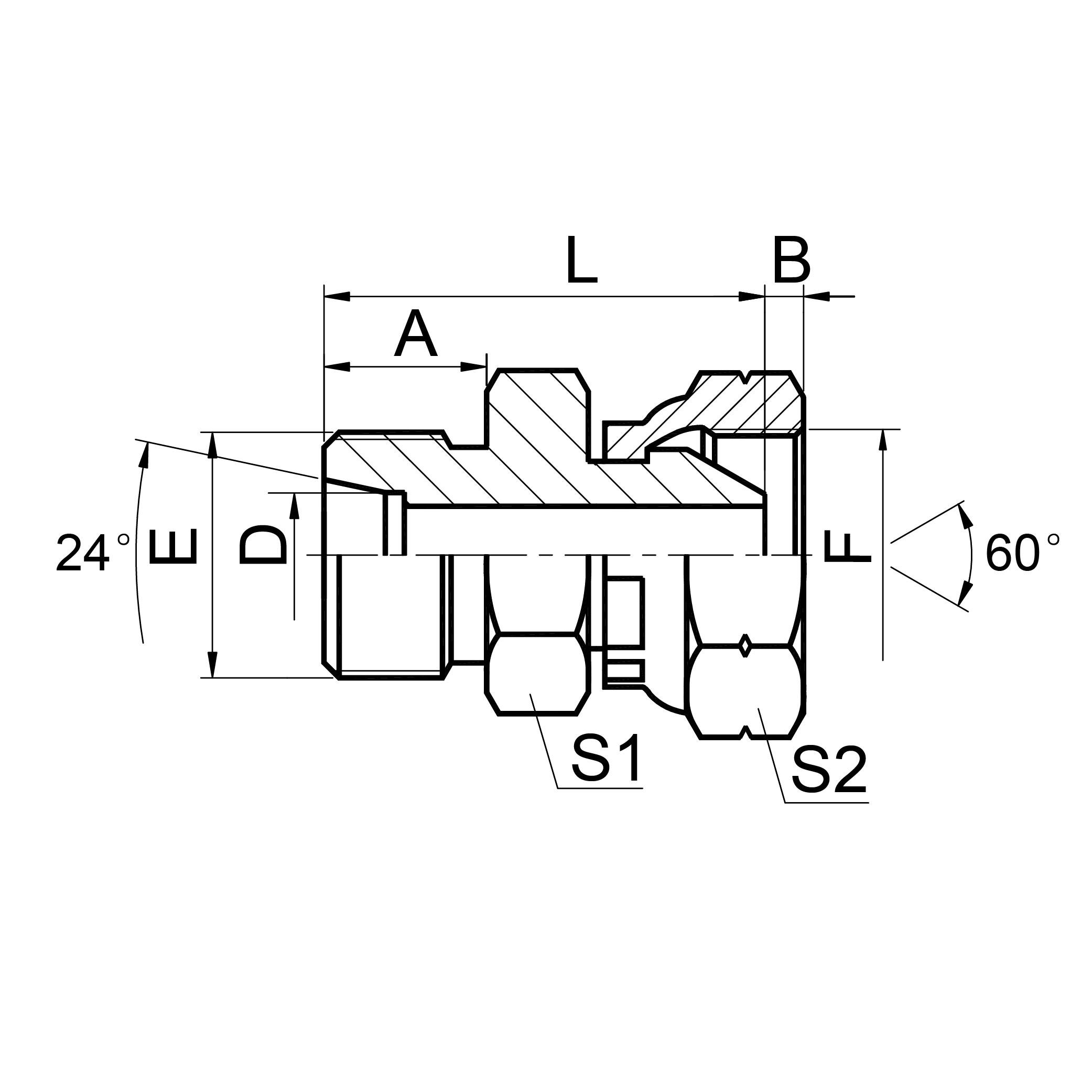 公制外螺纹24°重系列/ 英管内螺纹 2DB
