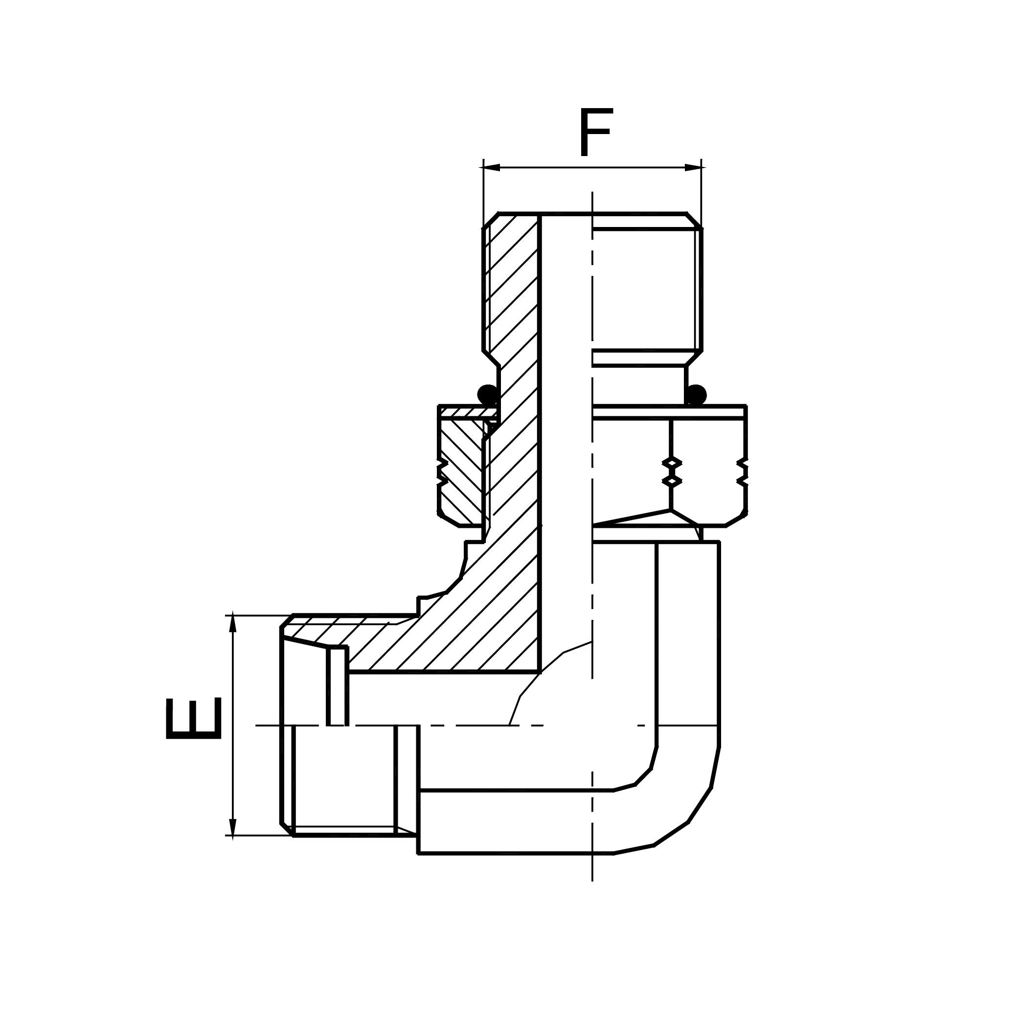 90°弯美制螺纹可调向O形圈密封柱端 1CO9-OG/1DO9-OG