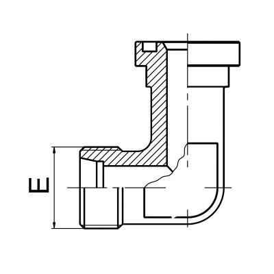 延边90°弯 公制螺纹卡套式 / 轻系列法兰ISO 6162-1 1CFL9/1DFL9